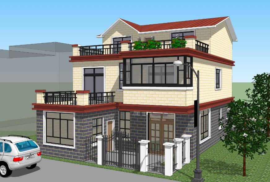 三层带院农村别墅图纸设计, 三层小花园, 二层小花园, 适合家有老人